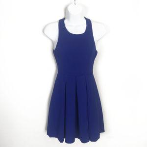 Lulu's Indigo Blue Zip Back Skater Dress